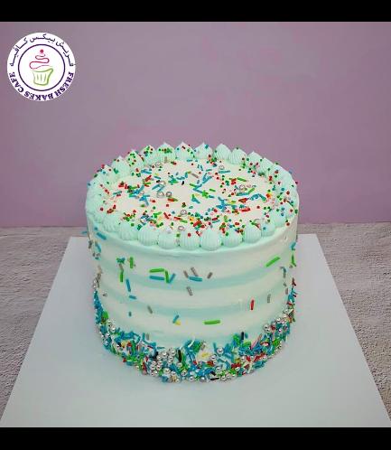 Funfetti Cake - Cream Piping & Lines - Blue