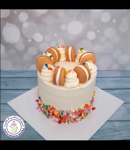 Funfetti Cake with Macarons