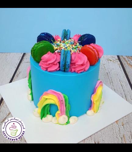 Funfetti Cake with Macarons & Rainbows