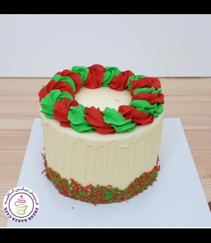 Funfetti Cake with Cream Rose 02 - Red & Green