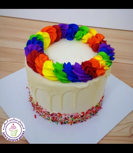 Funfetti Cake with Cream Rose 02 - Multi Colors