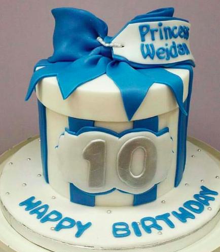 Cake - Round - Blue & White