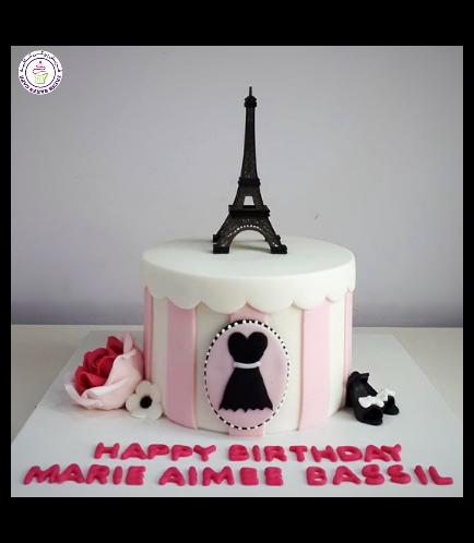 Cake - Round - Pink & White - Eiffel Tower 01a