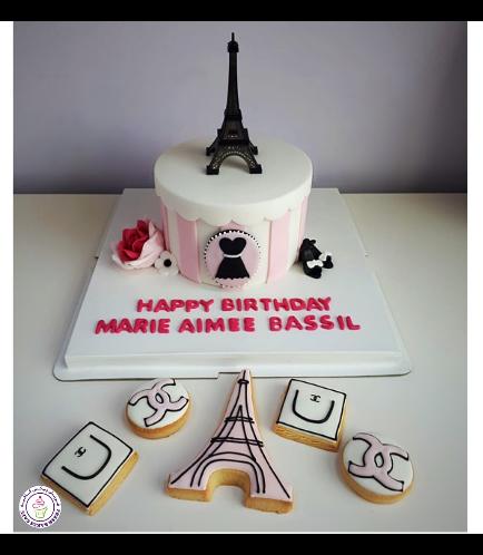 Cake - Round - Pink & White - Eiffel Tower 01b