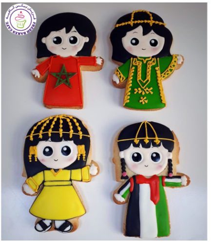 Moroccan & UAE Flags Themed Cookies - Girl Dresses