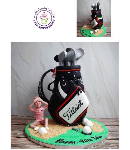 Golf Themed Cake - Carry Bag - 3D Cake