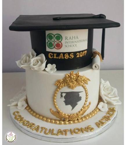 Cake - Flowers & 3D Cap Cake - White