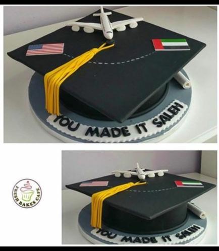 Cake - Graduation Cap - 3D Cake - 3D Plane & Flags