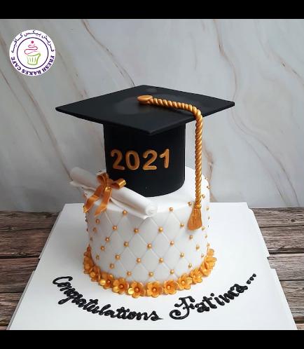 Cake - Flowers - Cap - 3D Cake Topper - 1 Tier 01 - Gold 01