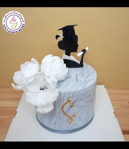 Cake - Peonies - Silhouette - Grey Marble 02