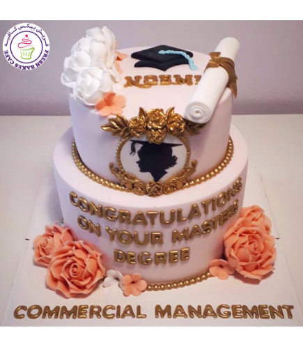 Cake - Graduation Cap - 2D Cake Topper - Flowers & Frame - 2 Tier