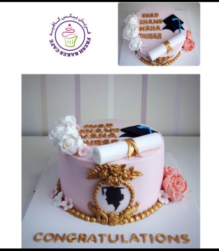 Cake - Graduation Cap - 2D Cake Topper - Flowers & Frame - 1 Tier
