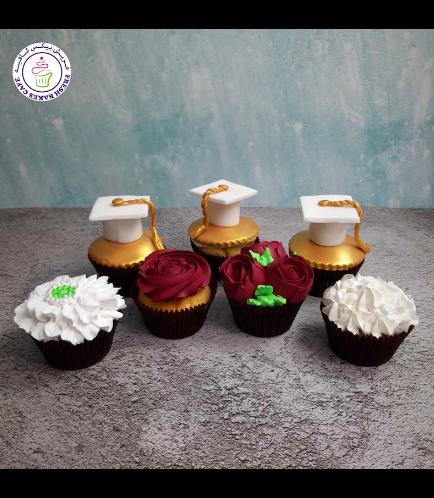 Cupcakes - Graduation Cap & Flowers
