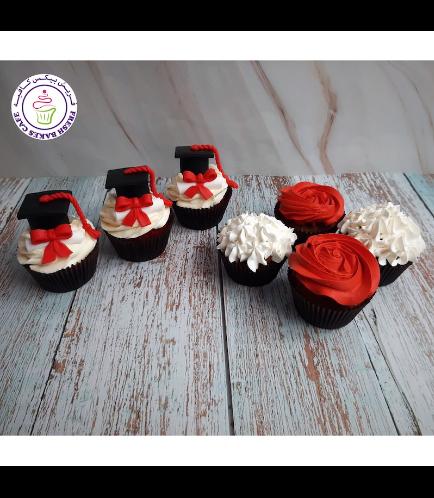 Cupcakes - Graduation Cap & Flowers 02