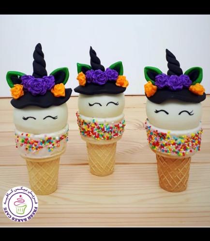 Halloween Themed Cone Cake Pops - Unicorn 01
