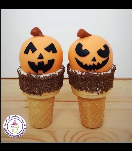 Cone Cake Pops - Jack-O-Lantern