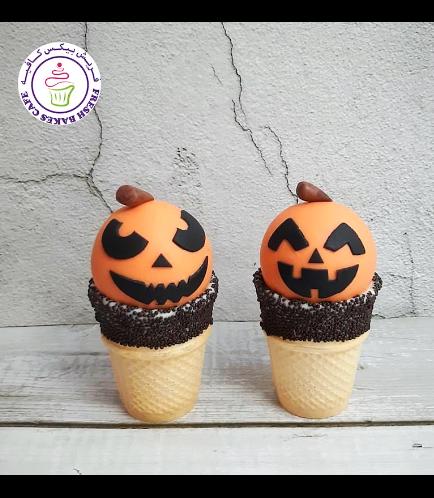 Halloween Themed Cone Cake Pops - Jack-O-Lantern