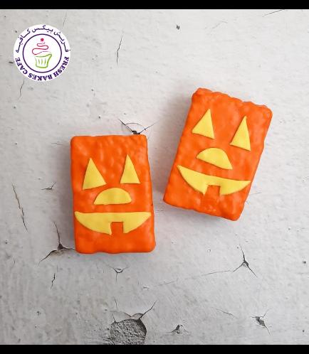 Halloween Themed Krispie Treats w/o Sticks - Jack-O-Lantern