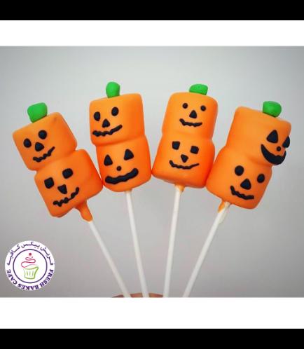 Marshmallow Pops - Jack-O-Lantern