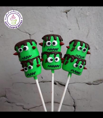 Halloween Themed Marshmallow Pops - Frankenstein