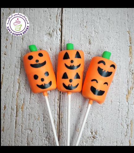 Halloween Themed Marshmallow Pops - Jack-O-Lantern