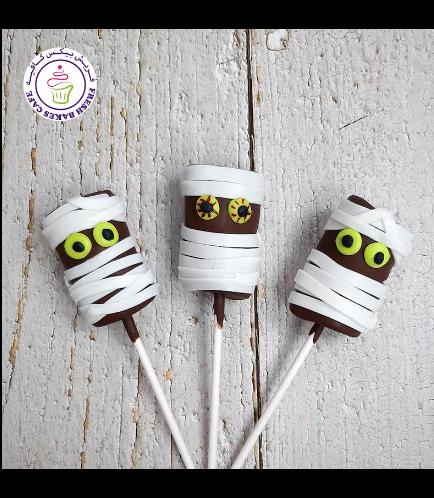 Halloween Themed Marshmallow Pops - Mummies