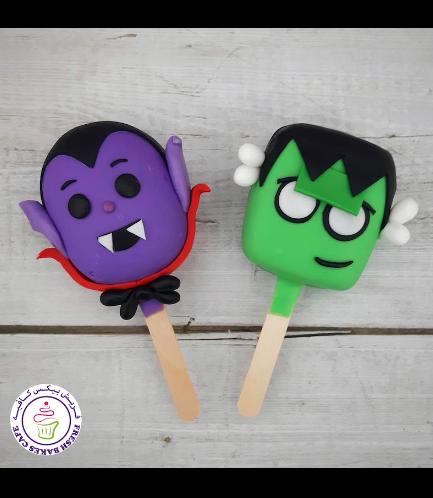 Halloween Themed Popsicakes - Dracula & Frankenstein