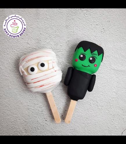 Halloween Themed Popsicakes - Mummy & Frankenstein