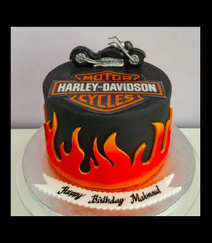 Motorcycle Themed Cake - 3D Cake Topper - Harley Davidson 01