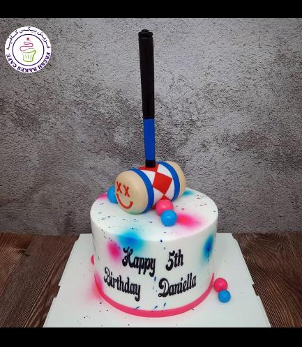 Harley Quinn Themed Cake - SWAT Mallet - 3D Cake Topper