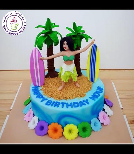 Cake - Hawaiian - Hula Girl - 3D Cake Topper - 1 Tier 02