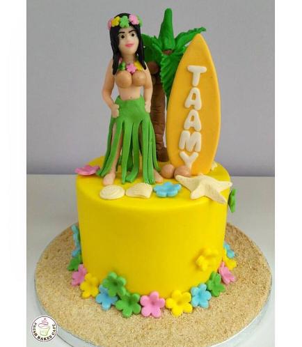 Cake - Hawaiian - Hula Girl - 3D Cake Topper - 1 Tier 01