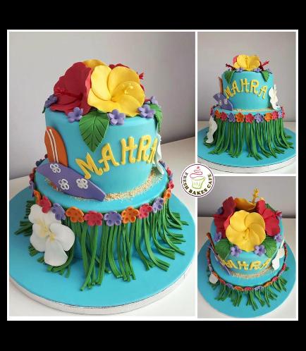 Cake - Hawaiian - Surf Boards & Hibiscus - 2 Tier