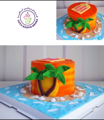 Hawaiian Themed Cake - Sunset