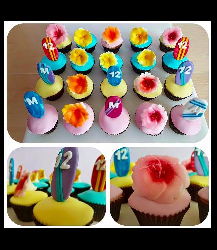 Cupcakes - Hawaiian - Surfboard & Hibiscus