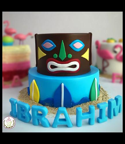 Hawaiian Tiki Themed Cake