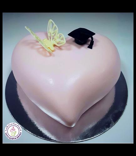 Cake - Heart Cake - Graduation Cap & Butterfly