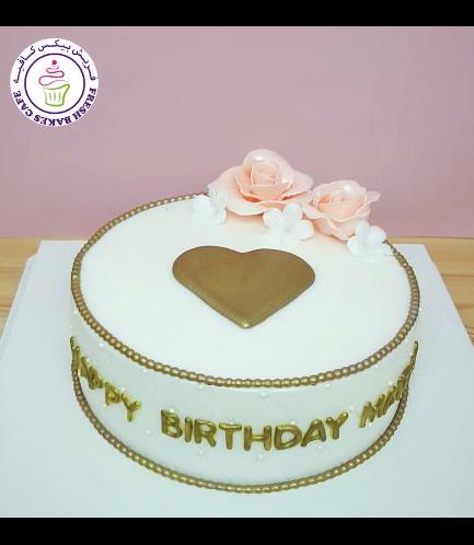 Cake - Heart - 2D Cake Topper & 3D Flowers