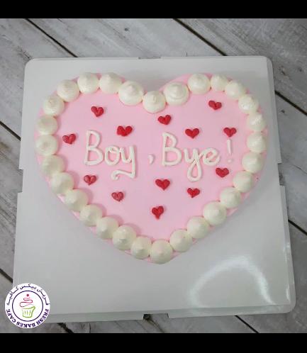 Cake - Heart Cake - Cream - Pink - Heart Piping