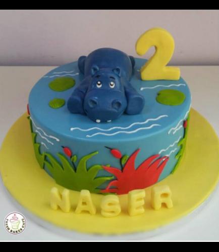 Hippo Themed Cake - 3D Cake Topper 01