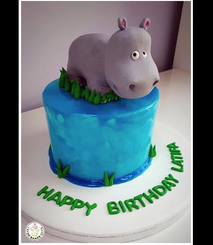 Hippo Themed Cake - 3D Cake Topper 02