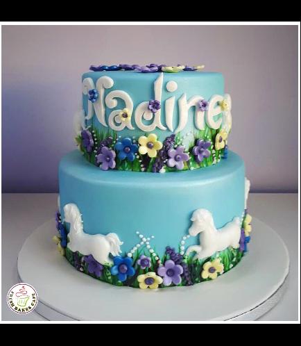 Horse Themed Cake - 2D Cake Topper - 2 Tier