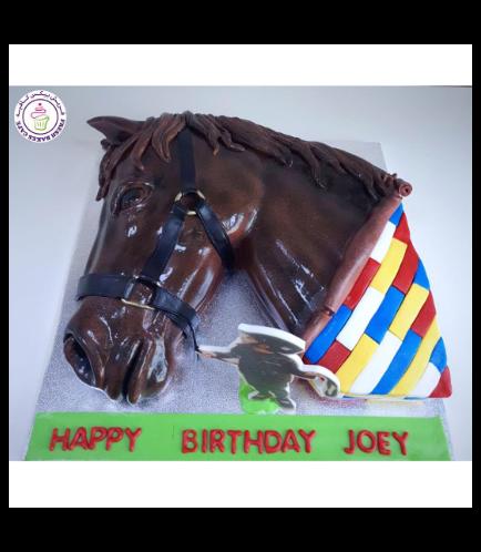 Horse Themed Cake - 2D Cake - Horse Head & LEGO 01a