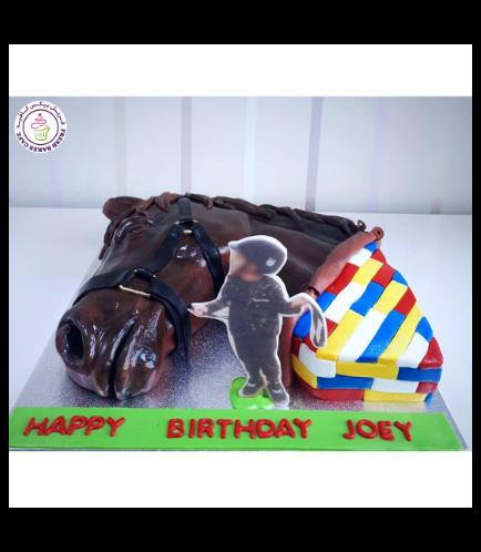 Horse Themed Cake - 2D Cake - Horse Head & LEGO 01b
