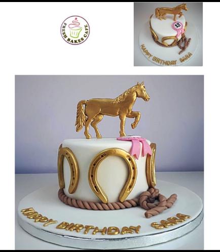 Horseback Riding Themed Cake - 3D Horse Cake Topper 01