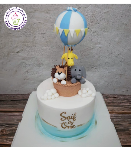 Animals Themed Cake - Jungle Animals - Hot Air Balloon