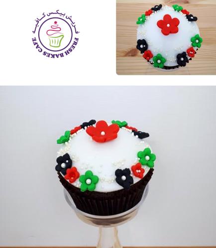 Cupcakes - Flag Colors - Fondant Flowers 01