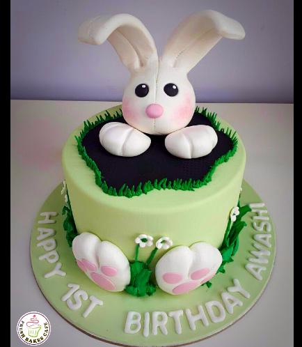 Rabbit Themed Cake - 3D Head Cake Topper 01a