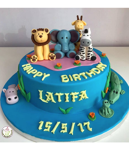 Animals Themed Cake - Jungle Animals - 3D Cake Toppers - 1 Tier 02