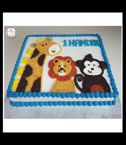 Animals Themed Cake - Jungle Animals - Picture - Cream